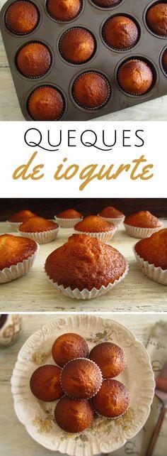 Queques de iogurte | Food From Portugal. Quer preparar um pequeno almoço diferente e simples para a sua família? Temos estes queques de iogurte que são fáceis de preparar e têm excelente apresentação. Feitos por si terão um sabor especial e a sua família pode desfrutar com um sumo de frutas ou chá gelado. Atreva-se!! #receita #queques #iogurte