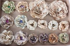 Vintage paper flowers  set of 16 by creationfaeries on Etsy, $17.00
