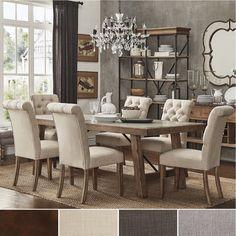 Dakota Oak Reinforced Concrete Trestle Dining Set by iNSPIRE Q Artisan | Overstock.com Shopping - The Best Deals on Dining Sets - 7-piece set- Beige Linen (6 chairs)