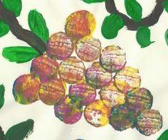 Druiven stempelen met een kurk Fruit Crafts, School Projects, Restaurant, Crafty, Europe, Autumn Theme, Artichoke, Fruits And Veggies, Vine Yard
