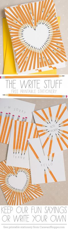 'The Write Stuff' free printable Stationery Set