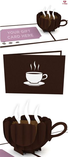 The cover of the rich brown pop-up coffee cup gift card holder features a laser-cut illustration of a steaming cup of delicious coffee. Open this magical card to reveal a three-dimensional cup of coff Pop Up Cards, Cool Cards, Paper Cards, Paper Boxes, 3d Cards, Mug Template, Templates, Small Coffee Cups, Tarjetas Pop Up
