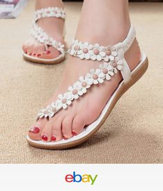 ed0e9ea048587 Women Summer Fashion Bohemia Sweet Beaded Sandals Clip Toe Sandals Beach  Shoes Women s Shoes