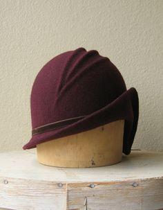Burgundy Wool Felt Cloche  Art Deco Style Hat by FrontierMillinery