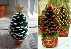 DIY Pine cone Christmas Trees - Miniature Christmas Tree Caft DIY Projects Beautiful Pine cone Christmas decorations with stand. You Will Need: Pine cone Glu. Pine Cone Christmas Decorations, Pine Cone Christmas Tree, Noel Christmas, Tree Decorations, Christmas Ornaments, Xmas Trees, Pinecone Ornaments, Reindeer Ornaments, Christmas Lanterns