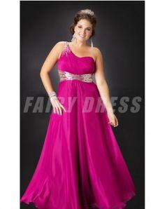 31585862c49 One Shoudler Sequince Chiffon Column Plus Size Prom Dress
