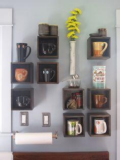 trendy kitchen shelves mugs display Decor, Shelves, Home, Coffee Bar Home, Home Improvement, Kitchen Decor, Trendy Kitchen, Home Coffee Stations, Home Kitchens