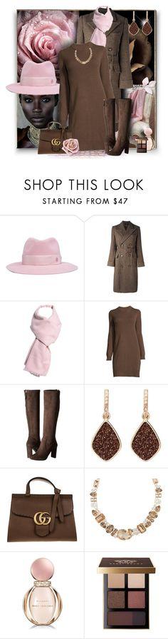 """Plaid coat"" by perla57 ❤ liked on Polyvore featuring Maison Michel, Polo Ralph Lauren, Nine West, H.Azeem, Gucci, Henri Bendel, Bulgari and Bobbi Brown Cosmetics"