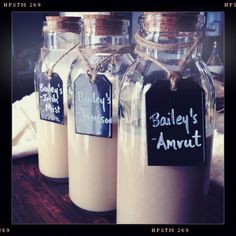 Homemade Bailey's: double recipe uses one full bottle of irish whiskey, 1 cream. Fills two large baileys and a about more.tmb TASTE GREAT most importantly, and about the price. Homemade Baileys, Homemade Irish Cream, Baileys Recipes, Baileys Irish Cream, Chocolate Baileys, Chocolate Syrup, Chocolate Cream, Drinks Alcohol Recipes, Alcoholic Drinks