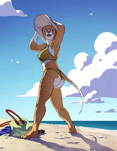 Beach Day by TheTiedTigress Flat color commission for Hamstap85@FA #beach #bikini #clouds #feline #female #hat #ocean #sand #smile #sphynxcat #sun #tabbysphynx #water