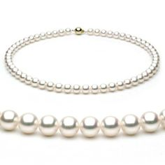 14k White Gold 7-7.5mm White Japanese Akoya Saltwater Cultured Pearl Necklace AAA Quality, 18 Inch Princess Unique Pearl. Save 75 Off!. $599.00