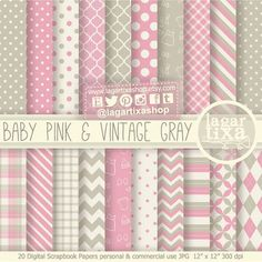 Pale Pink and Vintage Shabby Chic Grey Gray Digital Paper ...