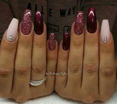 Maroon Burgundy Nails ♡