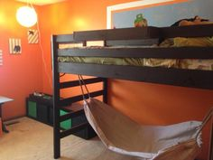 Great idea with hammock under. Junior height loft bed (modified) | Do It Yourself Home Projects from Ana White