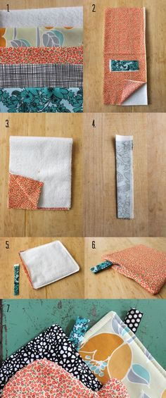 Great tutorial on how to make an oven mitt and a Hot Pad.