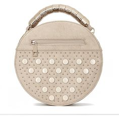 Yoins Beige Round Leather-look Handle Bag with Button and Rivet... (€29) ❤ liked on Polyvore featuring bags, handbags, shoulder bags, bags other, beige, long strap purse, vegan purses, vegan handbags, beige shoulder bag and pink purse
