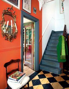 colorful-victorian-home-interior-design-decor. Victorian House Interiors, Victorian Homes, Orange Paint Colors, Bright Colors, Victorian Hallway, Orange Interior, Painted Floors, Painted Stairs, My New Room