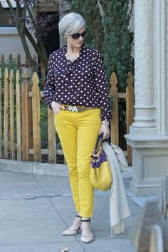 trends come and go, but true style is ageless — <outfit post> mello yellow: denim blouse. Mature Fashion, Fashion For Women Over 40, 50 Fashion, Plus Size Fashion, Fashion Outfits, Fashion Trends, Fashion Stores, Fashion Clothes, Cool Outfits