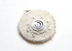 White wedding  felt pendant with bead embroidery by grabacoffee, $16.00