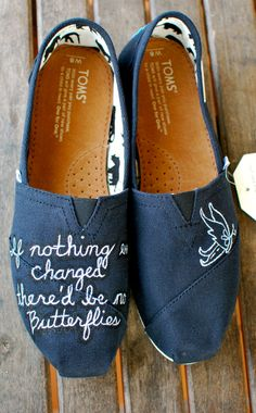 Custom quote butterfly TOMS shoes. $119.00, via Etsy.