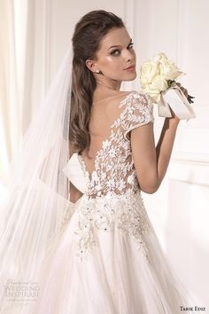 tarik ediz 2014 bridal collection cap sleeves illusion neckline sweetheart a line wedding dress back zoom karanfil
