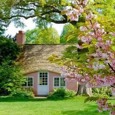 "Previous Pinner says: ""Little pink houses for you and me."" ~ Love this little cottage!!"
