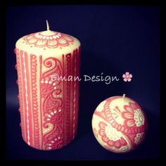Set of 2 Henna Inspired Candles in Pink and White on Etsy Henna Candles