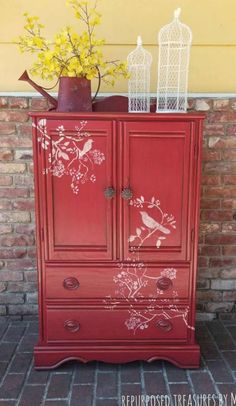 Red bird armoire red armoire children's furniture Refurbished Furniture, Paint Furniture, Repurposed Furniture, Kids Furniture, Furniture Makeover, Vintage Furniture, Furniture Online, Furniture Stores, Cheap Furniture