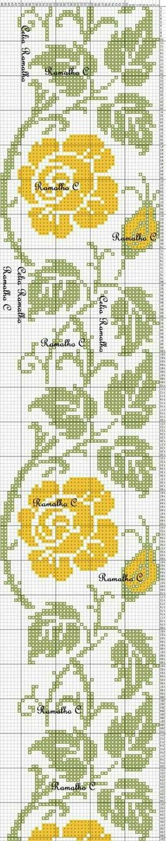 This Pin was discovered by Еле Cross Stitch Bookmarks, Cross Stitch Borders, Cross Stitch Rose, Cross Stitch Flowers, Cross Stitch Charts, Cross Stitch Designs, Cross Stitching, Cross Stitch Embroidery, Embroidery Patterns