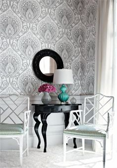 Thibaut Design - Rio Wallpaper in Black and White. I love graphic wallpaper and would love to have it in my dream home. Wall Wallpaper, Pattern Wallpaper, Interior Wallpaper, Graphic Wallpaper, Wallpaper Online, Fabric Wallpaper, Wallpaper Ideas, Chippendale Chairs, Driven By Decor
