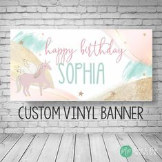 Unicorn Birthday Party, Unicorn Birthday Party Ideas, Girl Unicorn Party, Birthday Party Banner, Girls Birthday Banner, Girls Unicorn Birthday Banner, Rainbow Birthday Party, Unicorn Birthday Parties, Girl Birthday, Birthday Ideas, Unicorn Party, Custom Vinyl Banners, Personalized Banners, Unicorn Birthday Invitations, Party Invitations