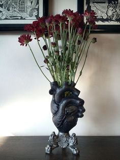 Anatomisches Herz-Vase, schwarze Lackierung