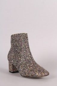 Free SH & Easy Returns! Shop Glitter Block Heeled Ankle Boots. These chic booties feature a colorful glitter throughout, rounded square toe silhouette, and block heel.