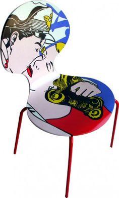 Lichtenstein-Kiss painted Vintage Chair