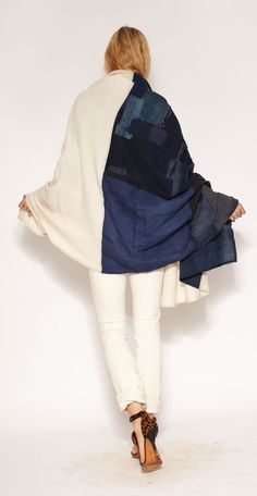 Boro Patchwork Scarf from Imogene + Willie Fashion Details, Love Fashion, Womens Fashion, Fashion Design, Estilo Denim, Mood Indigo, Textiles, How To Wear Scarves, Boro