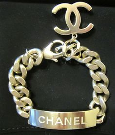 2015 Chanel CC Gold Id Logo Bracelet Link Chain New Authentic