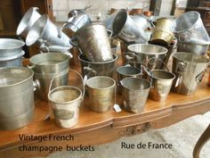 Collection of Antique and Vintage French champagne buckets / wine coolers French Wine, French Vintage, Bucket Cooler, Champagne Buckets, Moet Chandon, Vintage Decor, French Antiques, Wine Coolers