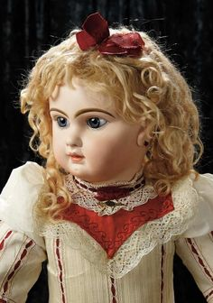 Soirée: A Marquis Cataloged Auction of Antique Dolls and Automata - May 14, 2016: Lot 11. Rare and Pristine Grand-Sized French Bisque Bebe Jumeau, Size 16, Original Costume