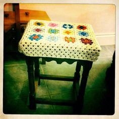 Bargain stool from a Carboot jazzed up with a crochet stool cover xXx