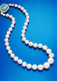 Barbara Hutton / Marie Antoinette Pearl Necklace –  A magnificent single-strand pearl necklace, composed of forty four graduated pearls, that once belonged to Marie Antoinette, Queen Consort of King Louis XVI of France, who together with his wife were guillotined  to death during the  French Revolution from 1789 to 1793. The necklace eventually came into the possession of Barbara Hutton, the granddaughter of Woolworth department store magnate, who was the heiress to an immense fortune.