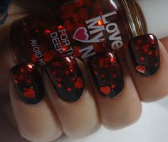 Dark polish with heart glitter...how lovely for Valentine's Day...
