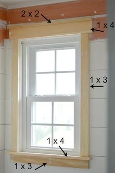 Window Casing **Should the wrap around the side, or too much?** How to Trim a Window - Craftsman Style Window Casing**Should the wrap around the side, or too much?** How to Trim a Window - Craftsman Style Window Casing Interior Window Trim, Farmhouse Window Trim, Home Diy, Farmhouse Trim, Home, Garage Door Trim, New Homes, Home Projects, Curved Furniture