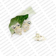 Retro Full Rhinestone Owl Cute Korean Fashion Earrings