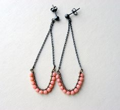 Pink coral earrings  Sterling silver  Oxidized by lunahoo on Etsy, $26.00
