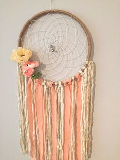 Boho Chic Dreamcatcher Pink & Cream Feminine Modern Dreamcatcher by BlairBaileyDesign on Etsy #dreamcatcher