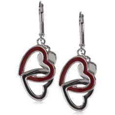 """ELLE Jewelry """"Hearts"""" Red Enamel Interlocking Sterling Silver Earrings $119"""