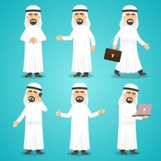 Buy Arab Images Set by macrovector on GraphicRiver. Cartoon images set of arab man in traditional arabic clothing isolated vector illustration. Editable EPS and Render i. Man Vector, Vector Free, Saudi Men, Creative Poster Design, Awesome Beards, Vector Photo, Silhouette Vector, Displaying Collections, Beard Styles