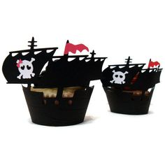 Pirate Ship Cupcake Wrappers Girl  set of 12  by cakeadoodledoo, $16.00