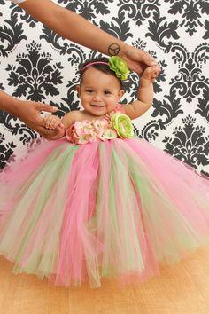 Tutu Dress, Flower Girl Dress, Pink Lime Green 12 Months to 2 Toddler via Etsy Pink Flower Girl Dresses, Girls Tutu Dresses, Flower Girl Tutu, Wedding Dresses For Girls, Tutus For Girls, Little Girl Dresses, Diy Tutu, Tulle Tutu, Tulle Dress