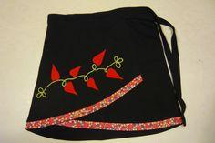 hand embroidered wrap skirt with applique folk by ZarannaCreating